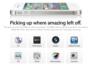 iPhone 4S web page