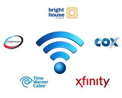 Wi-Fi symbol and cable company logos