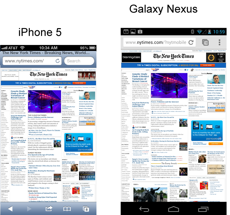 Apple's 4-Inch iPhone 5 vs  Android 4-Inch Plus Devices