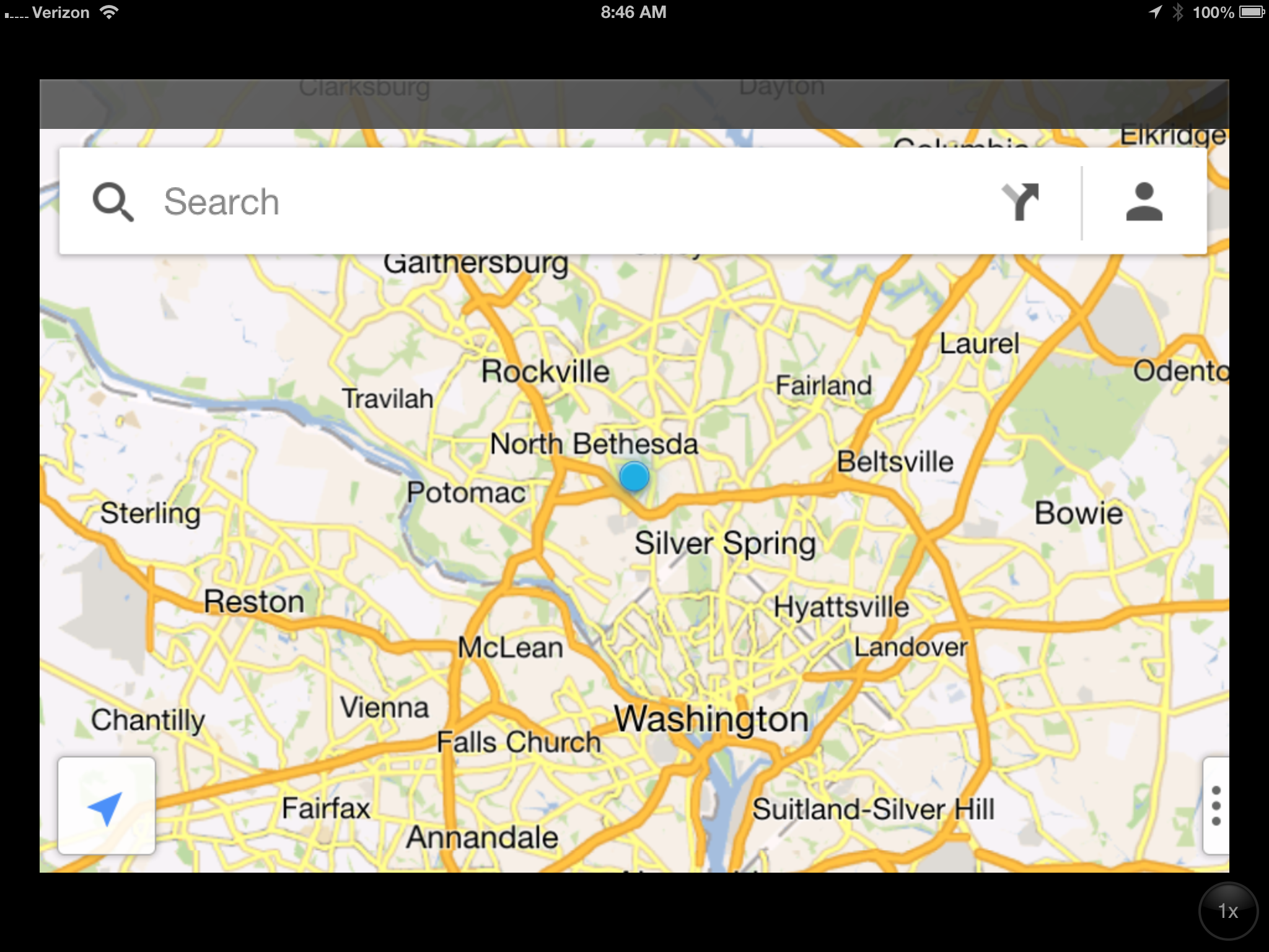 Google maps iPad screenshot