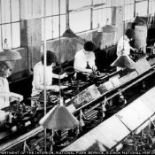 Old photo of women on assembly line (National Park Service)