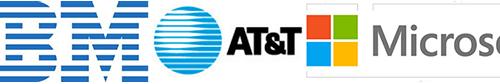 IBM, AT&T, and Microsoft logos