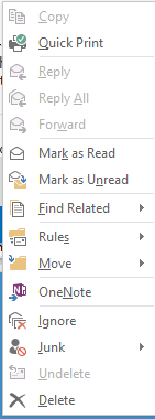 Outlook 2013 context menu screenshot