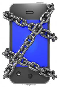 Photo of chained phone