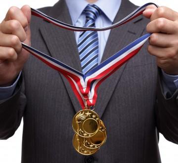 Awarding gold medal