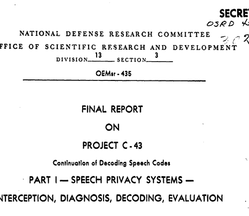 Cover page of Final Report on Project C-43