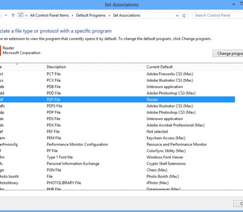 Windows 8 set files control panel