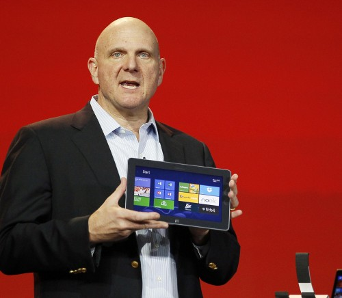 Microsoft CEO Steve Ballmer displays the new Windows Surface tablet at the Qualcomm pre-show keynote at the CES in Las Vegas