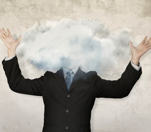 businessman with cloud on head