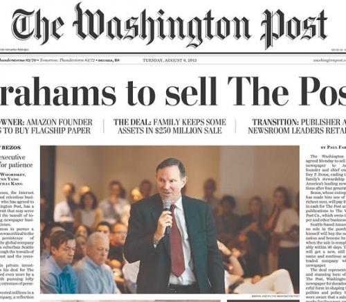 Esdhington Post headline (via Newseum)