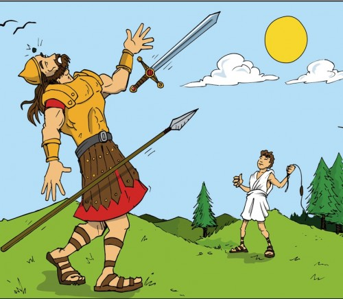 Cartoon of Goliath defeated by David