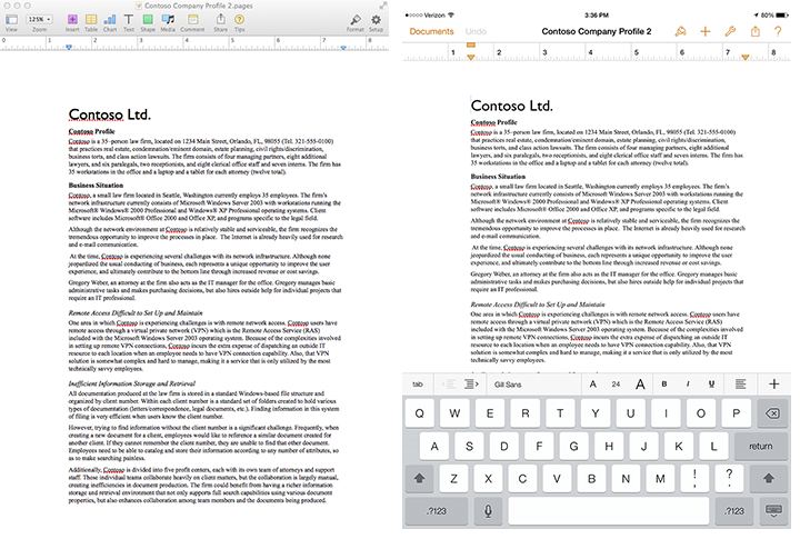 Pages Mac and iPad screenshots