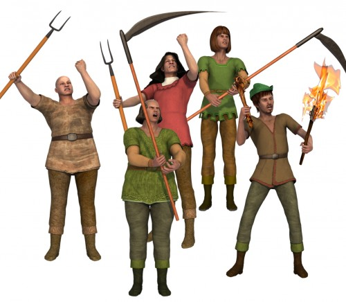 Angry villagers with pitchforks