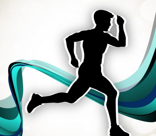 Silhouette of a man athlete running on wave background. EPS 10.