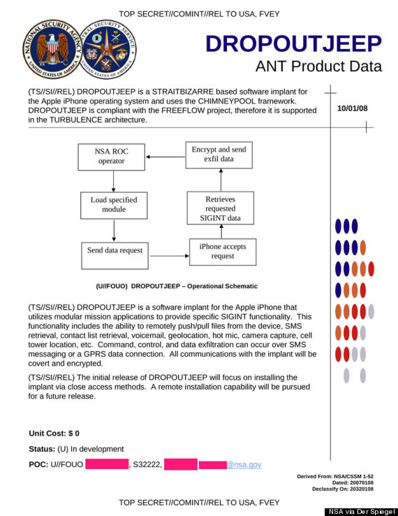 Copy of NSA document from Der Spiegel