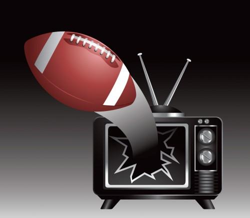 football breaks through tv screen