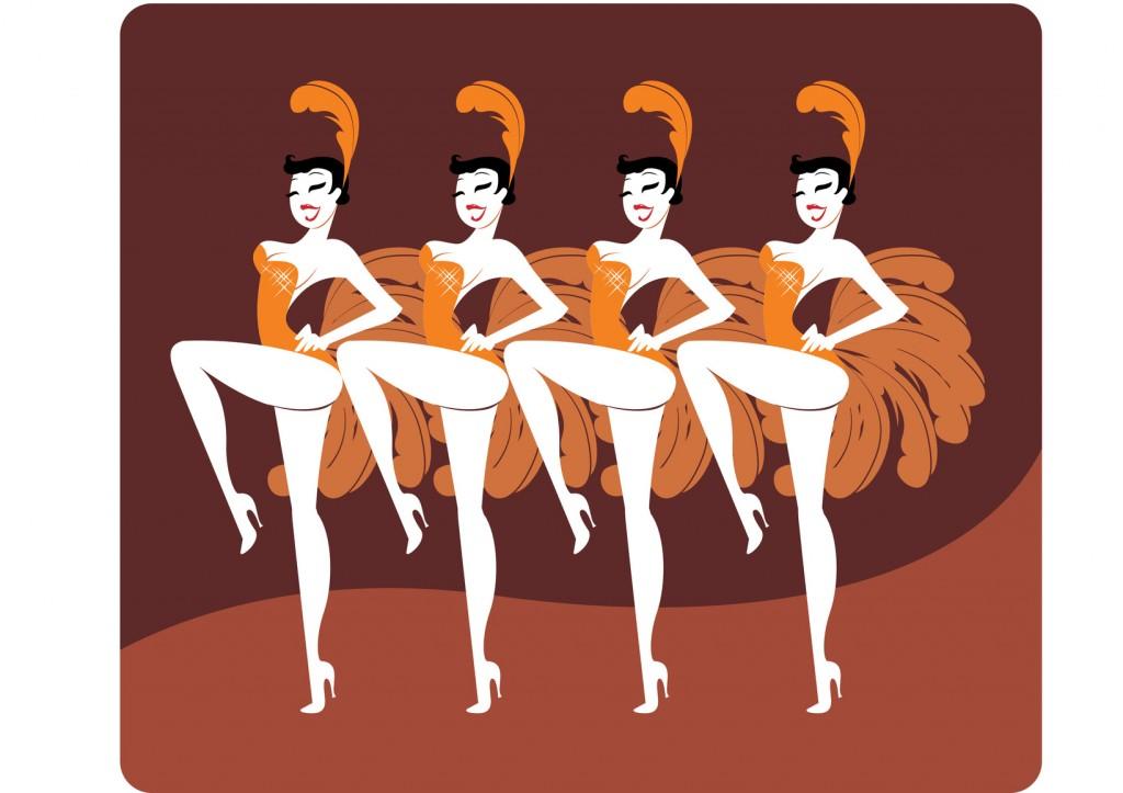 Beautiful showgirls dancing cancan