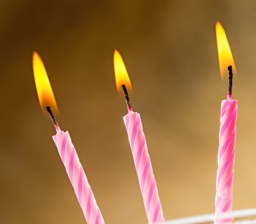 Three burning birthday candles