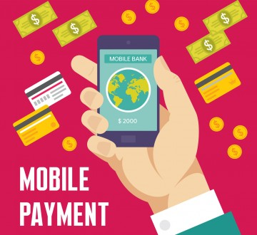 Mobile Payment Illustration in Flat Design Style