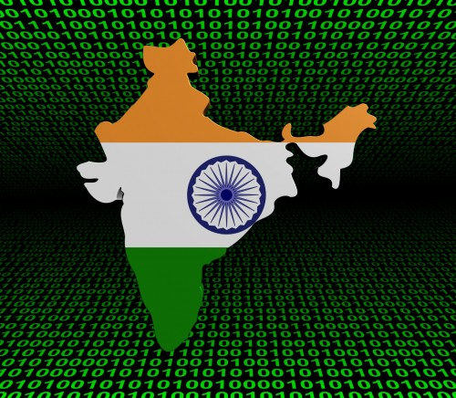 India map flag over binary background illustration