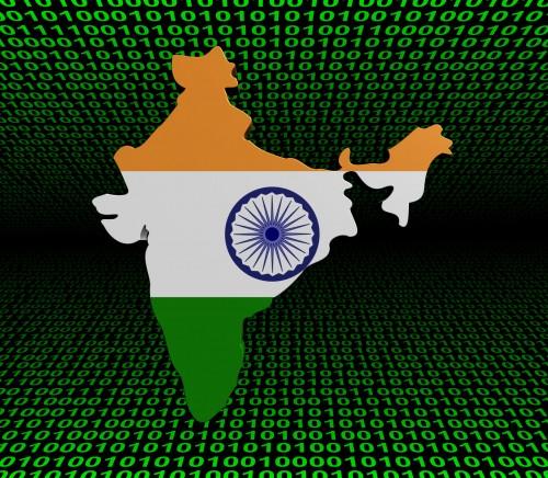 India map flag over binary background illustration