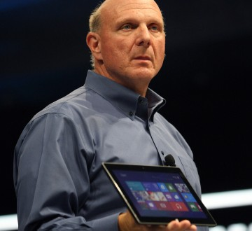 Microsoft CEO Steve Ballmer holds the new Surface as it is unveiled in Los Angeles