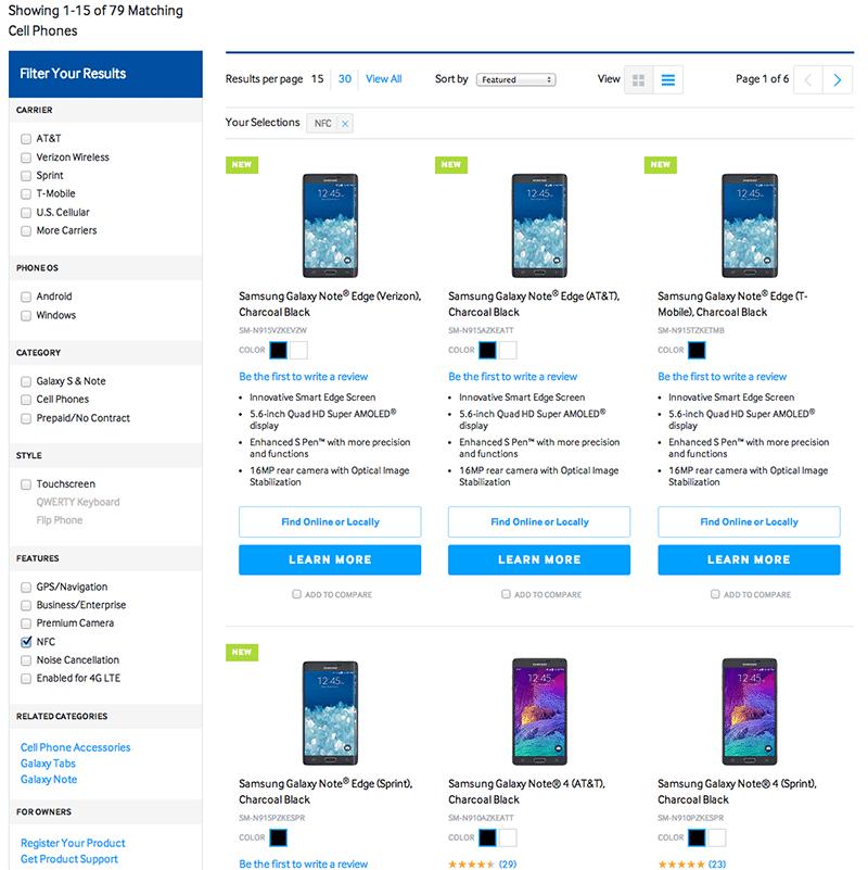 Samsung's NFC web site