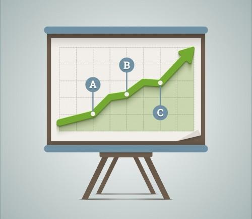 Growing chart presentation. Vector illustration in EPS10.