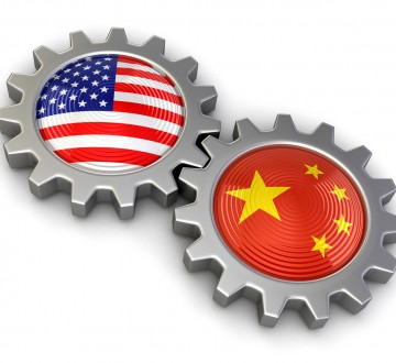 USA and Chinese flags on a gears (clipping path included)