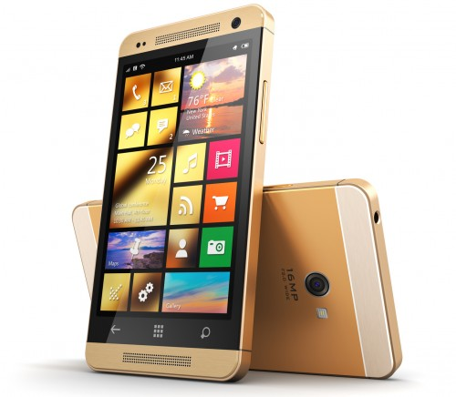 Modern golden touchscreen smartphone