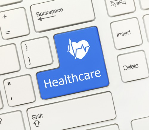 White conceptual keyboard - Healthcare (blue key)