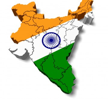 India. 3D. India map with flag
