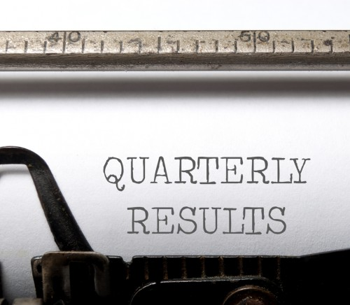 Quarterly results heading printed on a typewriter