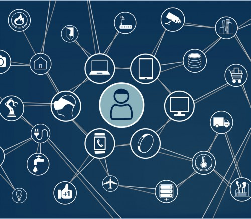 Internet of things (IoT) technology background with icons