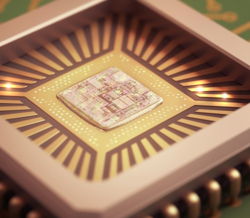 Microchip on board. Depth of field in the core.