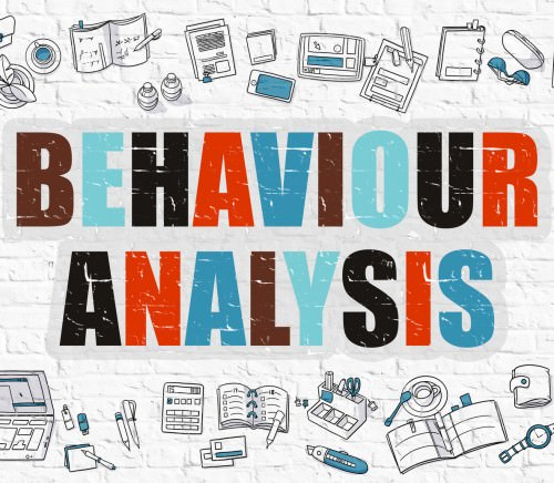 Behaviour Analysis Concept. Modern Line Style Illustation. Multicolor Behaviour Analysis Drawn on White Brick Wall. Doodle Icons. Doodle Design Style of  Behaviour Analysis  Concept.