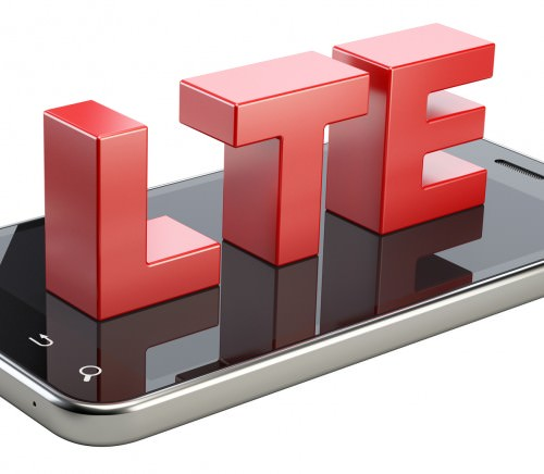 LTE sign on smart phone screen. High speed mobile web technology. 3d illustration isolated on a white background.