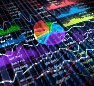 Stock Exchange 3D Graph background, 3D illustration