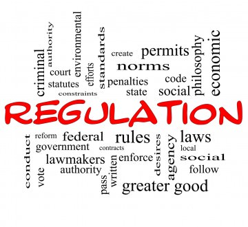 Regulation Word Cloud Concept in red caps with great terms such as rules, enforce, government and more.