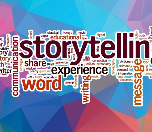 Storytelling word cloud concept with abstract background