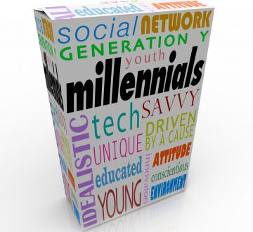 Millennials word on a product or package box to illustrate marketing and advertising to the youth in Generation Y