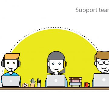 Thin line flat design concept for technical support,online support or call center