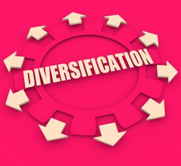 Industry theme relative concept. Arrows withing cog wheel. Diversification text