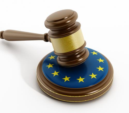 European Union flag on gavel isolated on white.